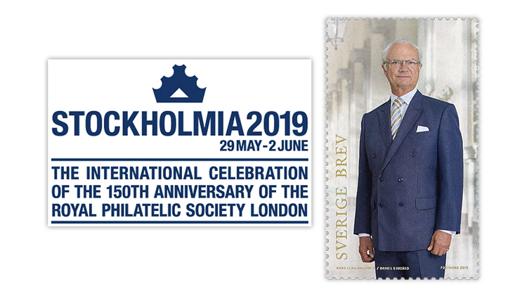 Stockholmia 2019 international stamp show and exhibition and a King Carl XVI Gustaf stamp