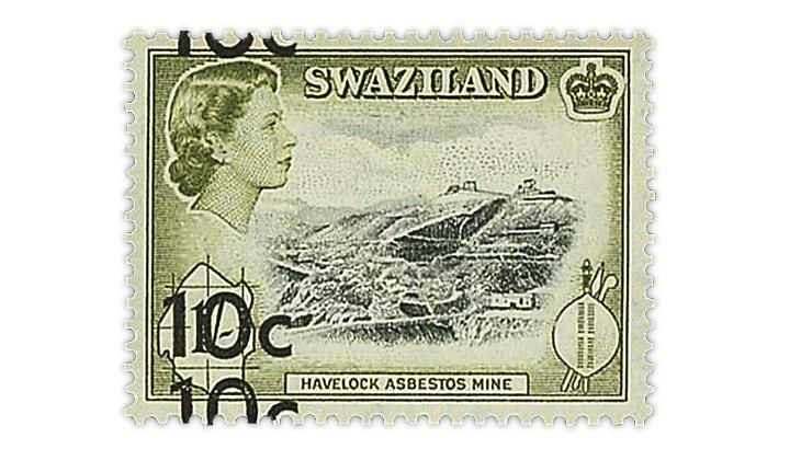 swaziland-1961-queen-elizabeth-double-surcharge-error-stamp