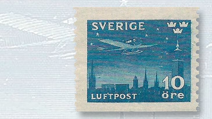 sweden-airmail-stamp-junkers-airplane