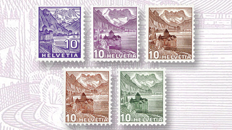 swiss-chillon-castle-stamps
