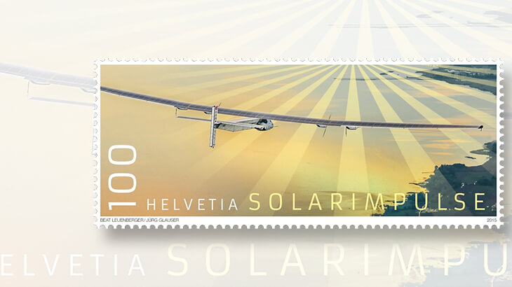 Swiss Post solar powered flight stamp