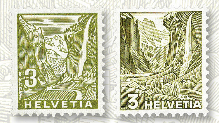 swiss-staubbach-falls-landscapes-stamp