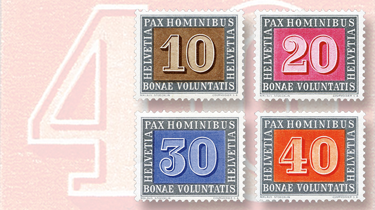 switzerland-1945-peace-set-5-centime-40c-numeral-stamps