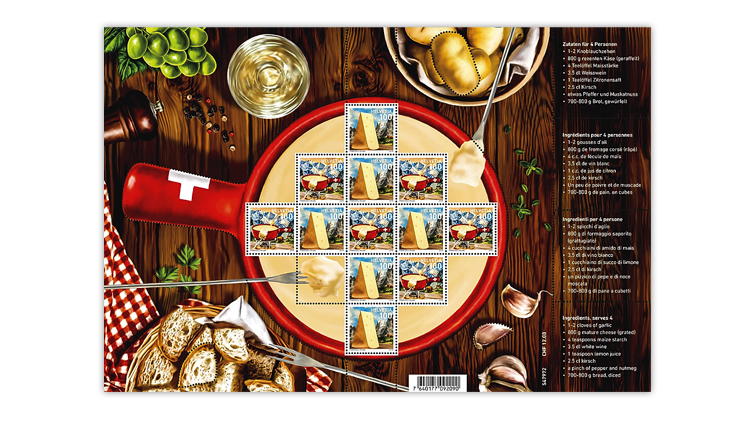 Switzerland Fondue stamp pane of 12