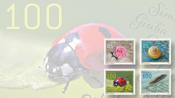 switzerland-rose-ladybug-snail-feather-stamps-letter-writing-2015
