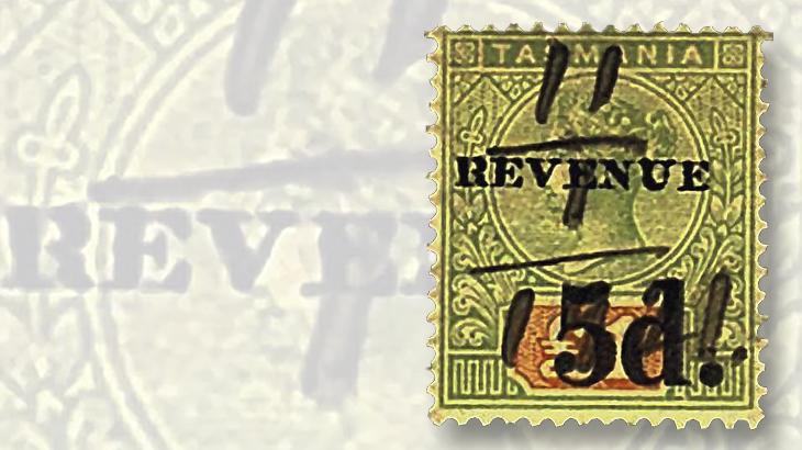 tasmania-overprinted-1-pound-queen-victoria-revenue