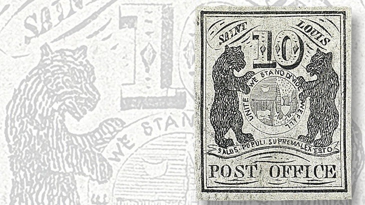 ten-cent-st-souis-bears-on-gray-lilac-paper-with-large-margins