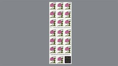 thirty-two-cent-pink-rose-stamp-pane-of-20
