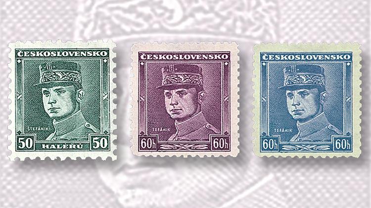 three-definitive-milan-stefanik-stamps
