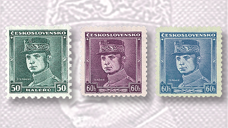 three-definitive-milan-stefanik-stamps