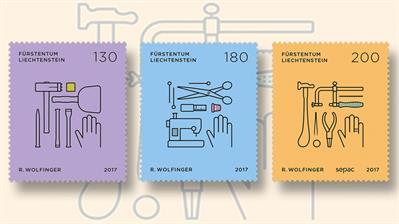 tools-on-stamps-of-liechtenstein