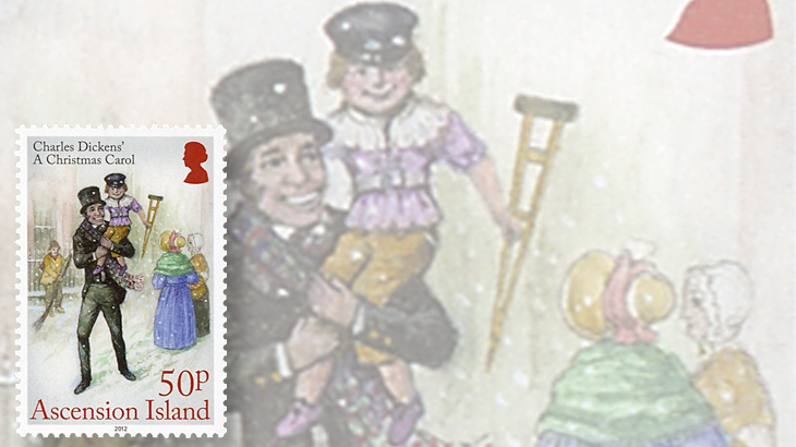 topics-on-stamps-charles-dickens-a-christmas-carol-ascension-island-tiny-tim-scrooge