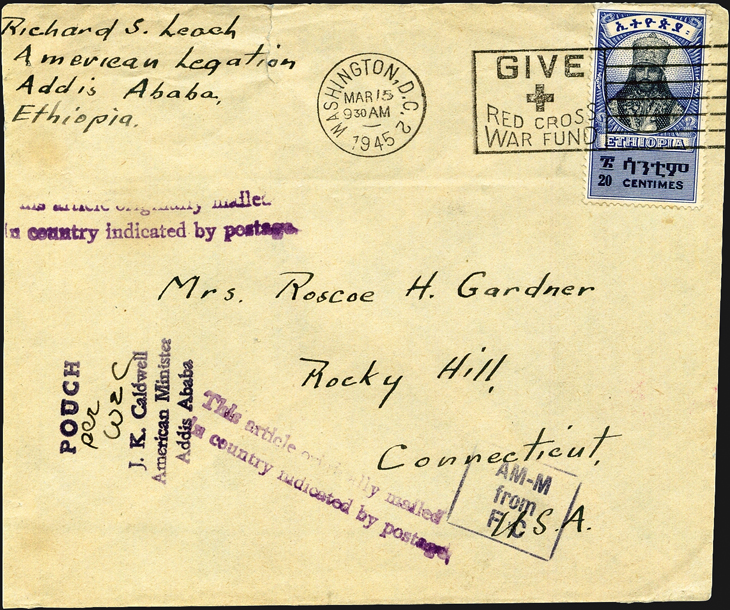 transatlantic-diplomatic-pouch-cover-ethiopia-washington-connecticut-1945