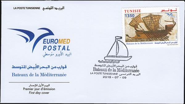 tunisia-euromed-first-day-cover-roman-warship-2015