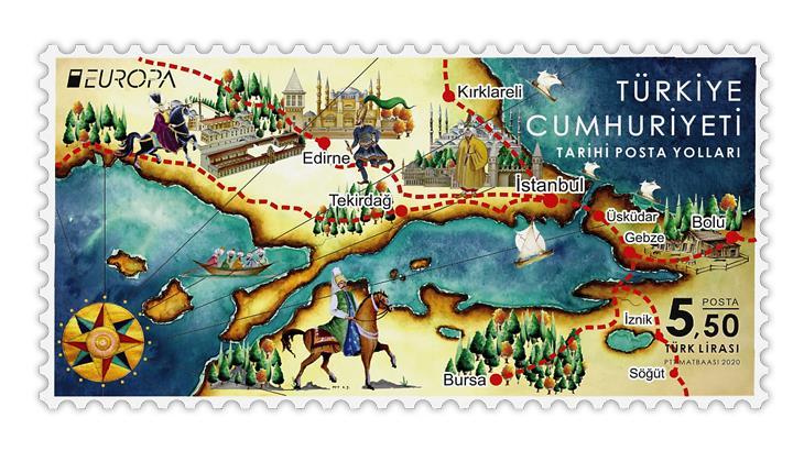 turkey-2020-europa-ancient-postal-routes-stamp