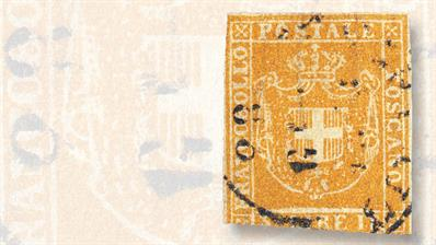 tuscan-1860-three-lire-ocher-stamp