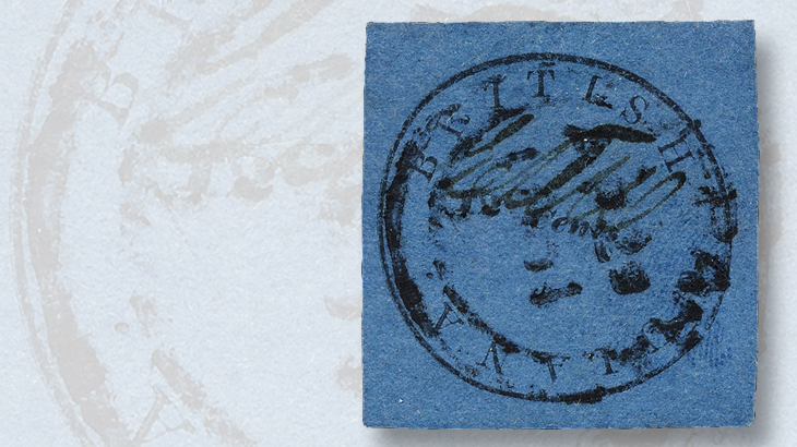 twelve-cent-black-on-blue-british-guiana-cottonreel-stamp
