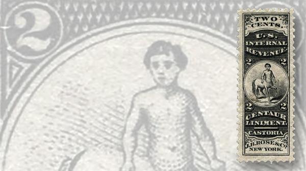 two-cent-black-centaur-private-die-proprietary-revenue-stamp