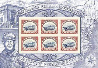 two-dollar-upright-jenny-invert-stamp-pane