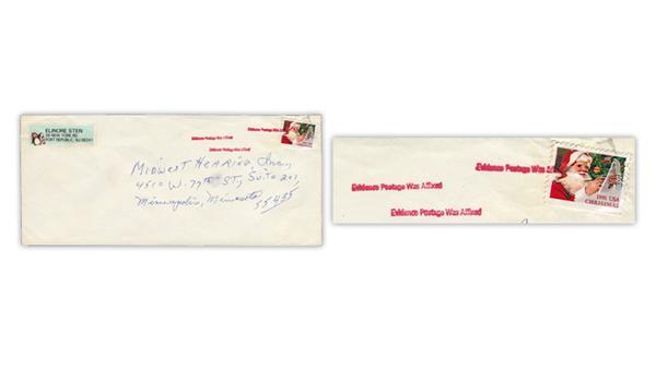 U.S. Stamp Notes 1991 Christmas stamp returned to sender