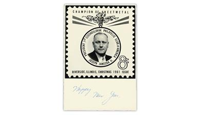 U.S. Stamp Notes Champion of Sheetmetal holiday card