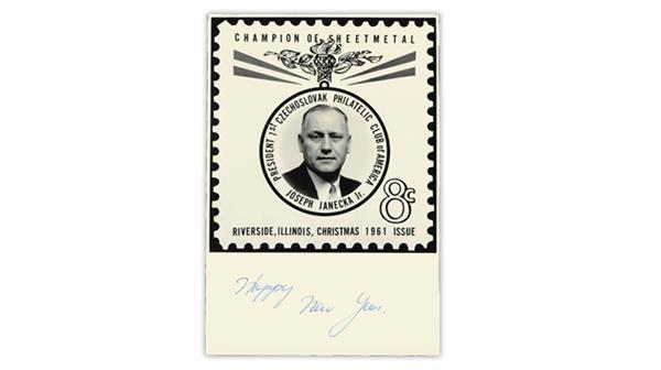 U.S. Stamp Notes Champion of Sheetmetal holiday card