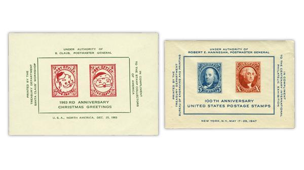 U.S. Stamp Notes Santa Claus spoof souvenir sheet