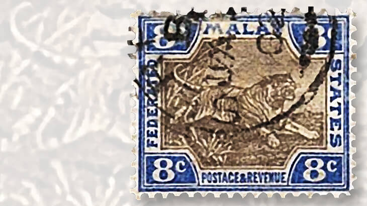 ultramarine-gray-1901-malaya-tiger-stamp