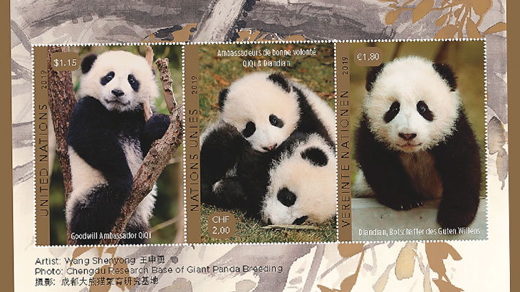 u n  twin pandas event sheets for stamp shows in china