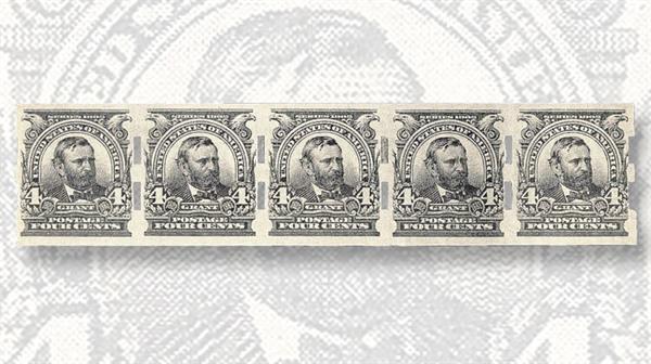 unique-unused-strip-five-imperforate-grant-stamps-schermack-perforations