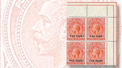 unique-war-tax-double-overprinted-sheet-of-1-penny-king-george-v-stamps