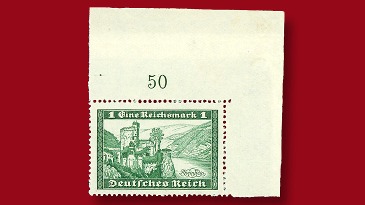 18 19 Rasdale Public Auction Will Include This Corner Single Of An Unissued German Stamp Described But Not Listed In The Scott Catalog
