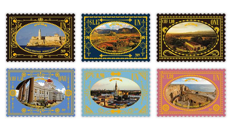 Die Postverwaltung der Vereinten Nationen ergänzt ihre Weltkulturerbe-Serie vom 24. Oktober um sechs Briefmarken. Die Briefmarken zeigen El Morro, Alt-Havanna, das Vinales-Tal, das Valle de los Ingenios, Trinidad, den Palacio de Valle, Cienfuegos, Camaguey und das Castillo de San Pedro de La Roca, Santiago de Cuba. | Bildquelle: https://www.linns.com © n/a | Bilder sind in der Regel urheberrechtlich geschützt