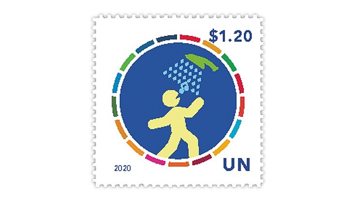 united-nations-2020-act-now-climate-action-five-minute-shower-stamp