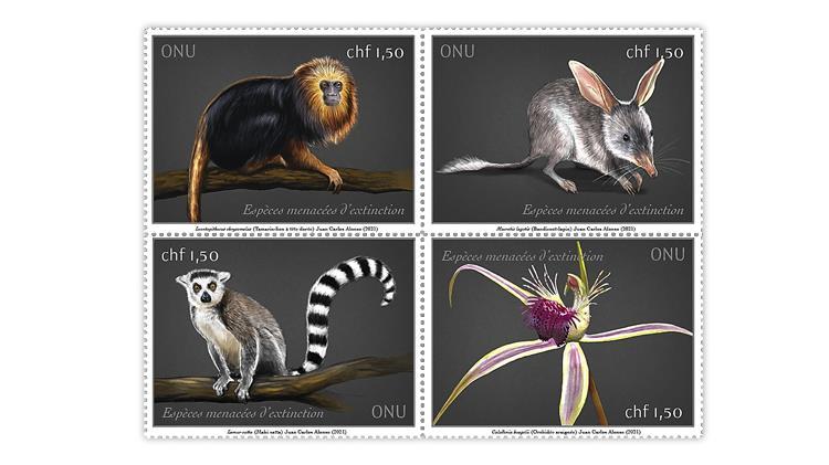 united-nations-2021-endangered-species-stamps-geneva-switzerland