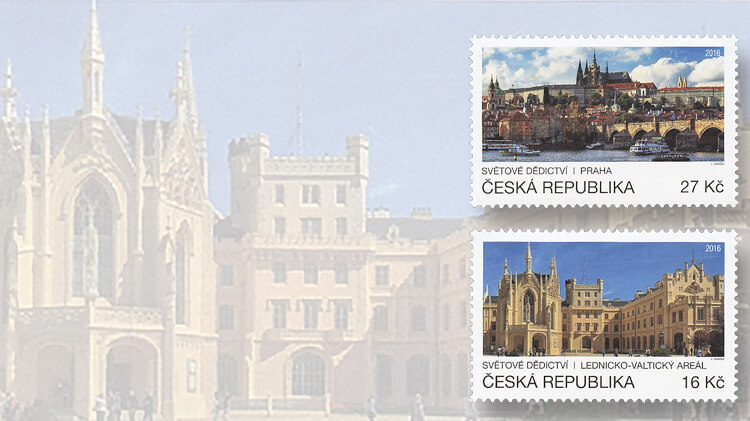 united-nations-czech-republic-prague-castle-charles-bridge-stamps