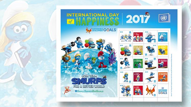 united-nations-smurfs-stamp-pane
