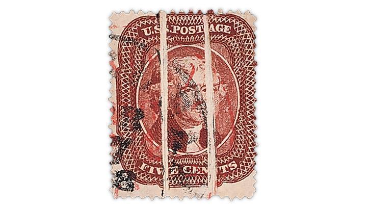 united-states-1860-brown-thomas-jefferson-stamp-preprinting-paper-folds