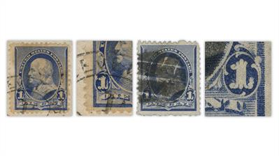 united-states-1890-benjamin-franklin-stamps-candle-flame-printing-flaw