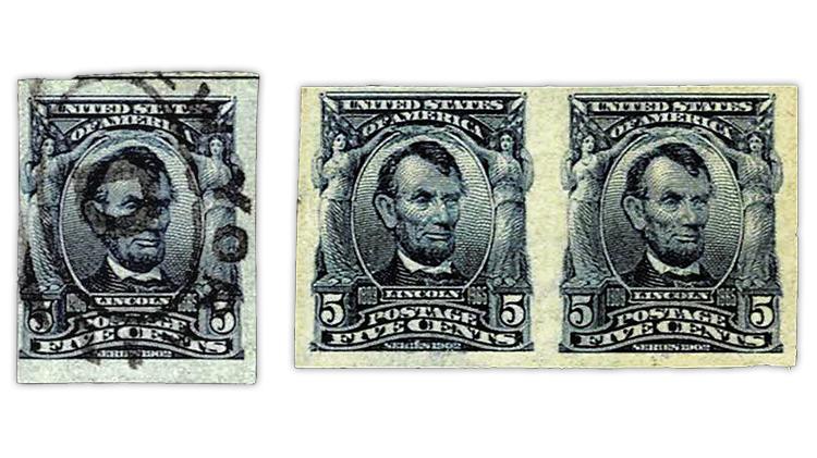 united-states-1908-abraham-lincoln-imperf-stamp-fake-genuine-pair