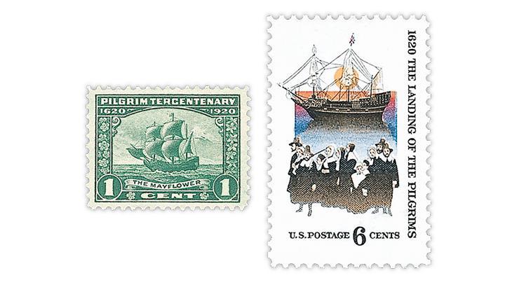 united-states-1920-300th-anniversary-1970-350th-anniversary-mayflower-stamps