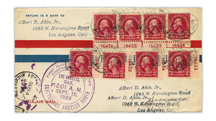 united-states-1926-washington-plate-number-singles-first-flight-cover