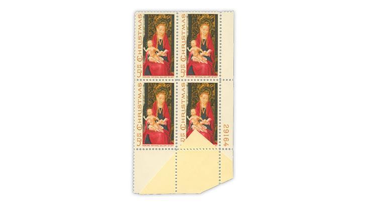 united-states-1967-madonna-child-christmas-stamp-paper-fold-folded