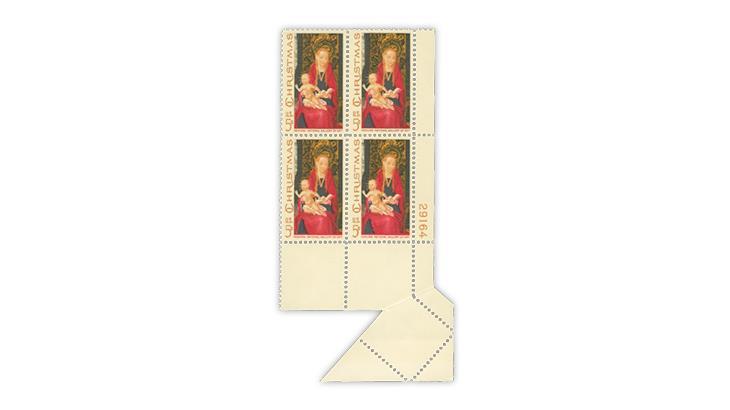 united-states-1967-madonna-child-christmas-stamp-paper-fold-unfolded