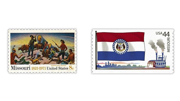 united-states-1971-missouri-statehood-2009-missouri-flag-stamps