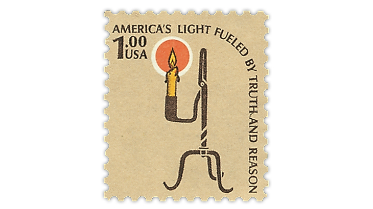 united-states-1979-one-dollar-rush-lamp-candle-holder-stamp