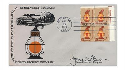 united-states-1979-railroad-lantern-james-schleyer-cachet-first-day-cover