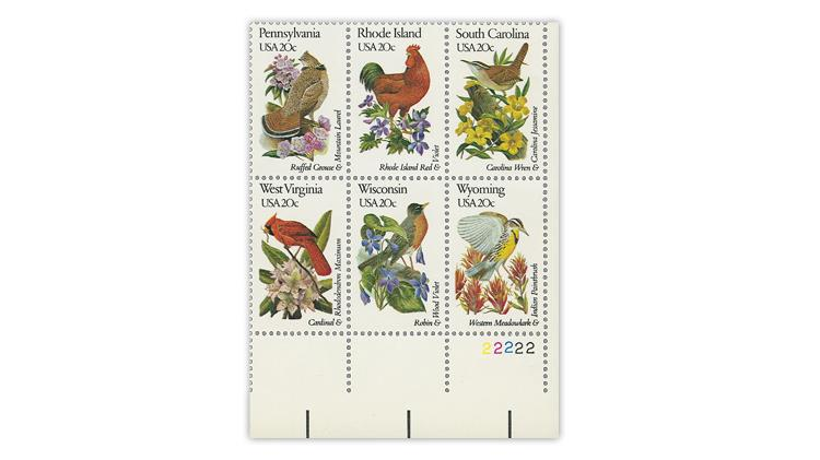 united-states-1982-state-birds-flowers-block-in-line-perforations