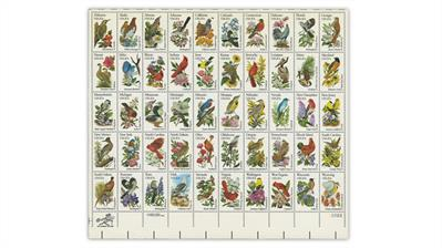 united-states-1982-state-birds-flowers-stamps-pane