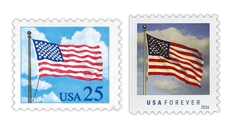 United States 1988 and 2016 flag stamps